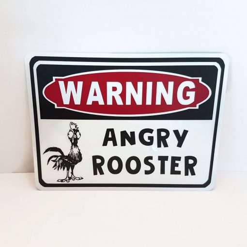 Warning Angry Rooster Sign Chicken Coop