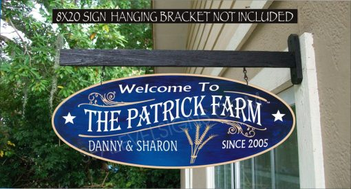 2019 Wheat Farmer Ranch Barn Man Cave Gift Family Name Custom Personalized Sign