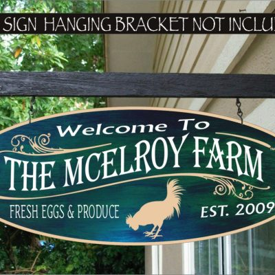 2019 Rooster Country Kitchen Chicken Coop Farm Family Name Custom Personalized Sign