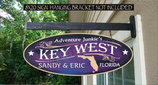 2019 State Florida Key West Adventure Junkie's Home Grown Family Name Custom Personalized Sign