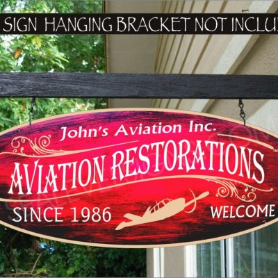 2019 Airplane Pilot Decor Gift Flying Gifts Family Name Custom Personalized Sign