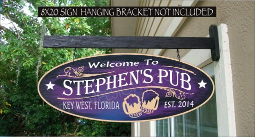 2019 Custom Beer Sign, Personalized Man Cave Bar Gifts For Him, Family Name Waterproof Painted Sign