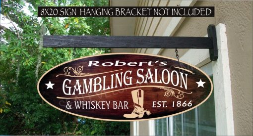 2019 Cowboy Boot Gambling Saloon Bar Pub Horse Farm Country Ranch Gift Family Name Custom Personalized Sign