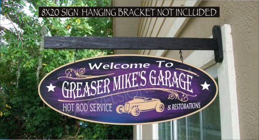 Greasers Garage & Hot Rod Shop Speed Street Man Cave Gift Family Name Custom Personalized Sign Auto 912
