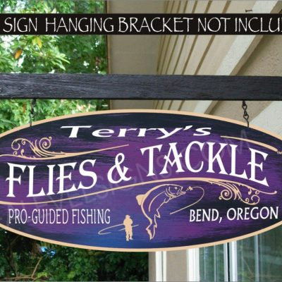 2019 Fly Fishing Fishing Flies & Tackle River Trout Fisherman Gift Family Name Custom Personalized Sign