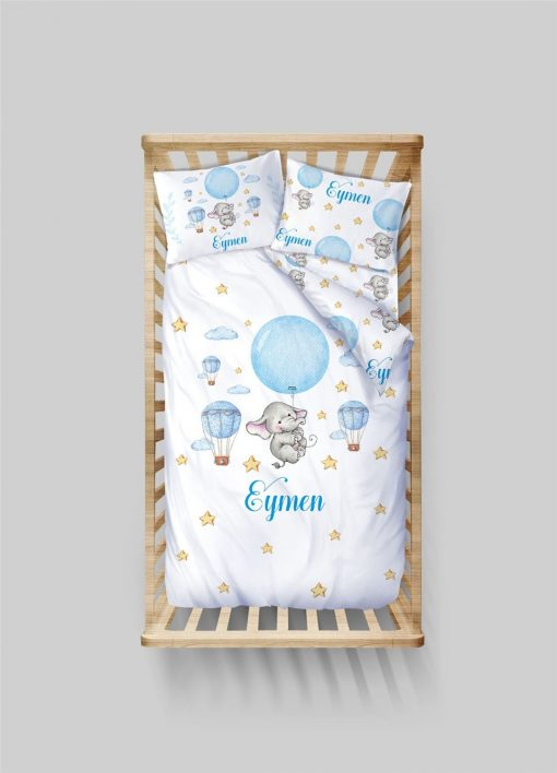 Custom Elephant & Balloons Duvet Cover Toddler Twin Baby Boys Bedding Set Personalized