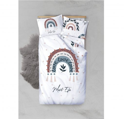 Custom Boho Rainbow Duvet Cover Toddler Twin Boys Bedding Set Personalized