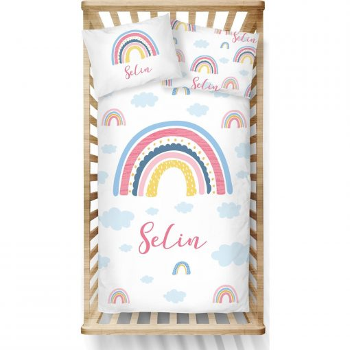 Custom Pink Rainbow Duvet Cover Girls Bedding Set Tosler Twin Bed Personalized