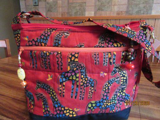 Laurel Burch Giraffes Cross Body Fabric Purse 100% Handmade