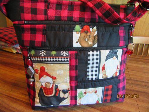 Gnome Cross Body Fabric Purse With Secured Zipper 100% Handmade