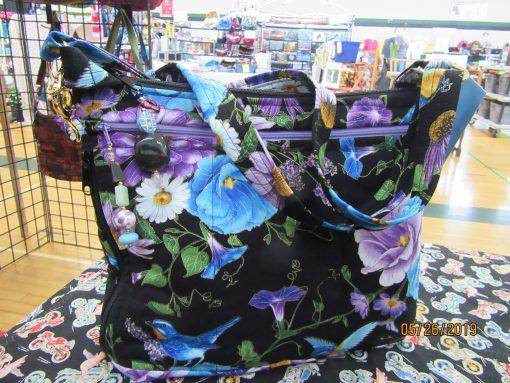 Bluebirds & Flowers Fabric Cross Body Purse With Secured Zipper 100% Handmade