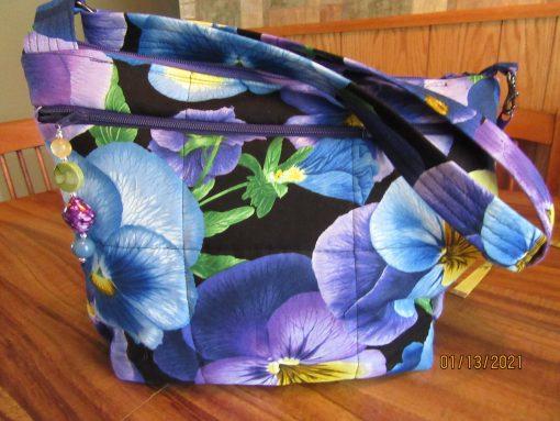 Pansies Cross Body Fabric Purse 100% Handmade