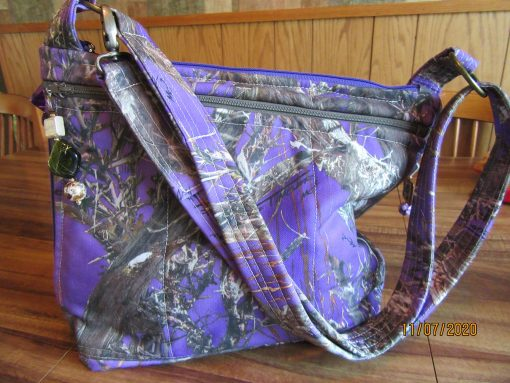 Water Repellent Purple Camo Cross Body Purse 100% Handmade