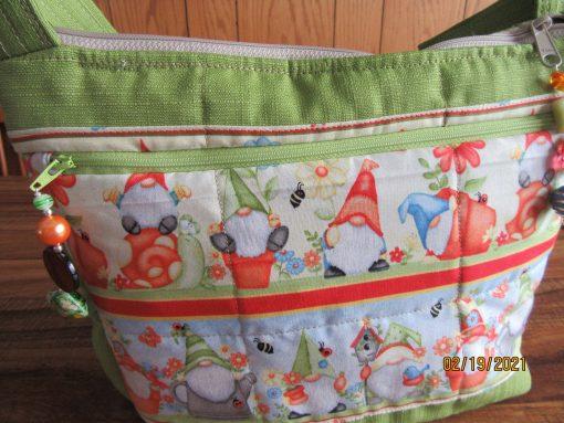 Whimsical Garden Gnomes Cross Body Fabric Purse 100% Handmade
