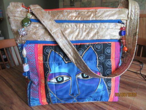 Laurel Burch Cat Shoulder Bag With Secured Zipper 100% Handmade