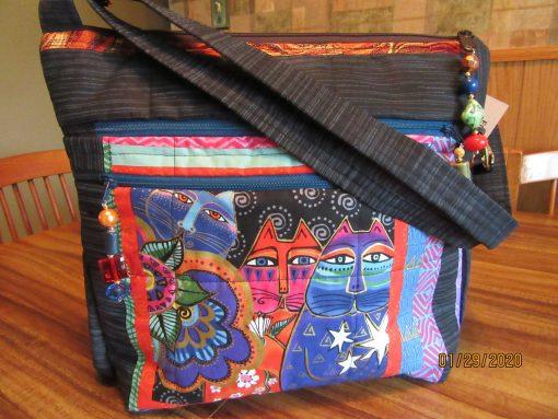 Laurel Burch Cat Cross Body Fabric Purse With Secured Zipper 100% Handmade