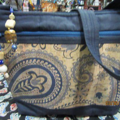 Blue Paisley Cork Cross Body Fabric Purse With Secured Zipper 100% Handmade