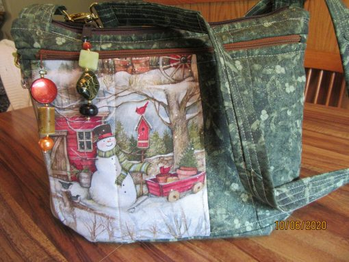 Winter in The Country Cross Body Fabric Purse 100% Handmade