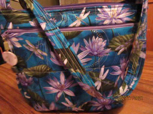Garden Dragonflies Cross Body Fabric Purse With Secured Zipper 100% Handmade