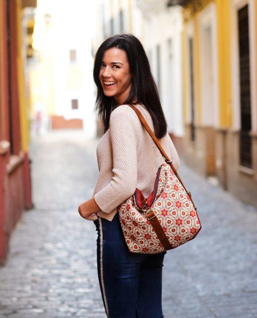 Boho Backpack Women Convertible Bag Wiht Geometric Pattern, Slouch Hobo Purse, Canvas Rucksack Islamic Pattern