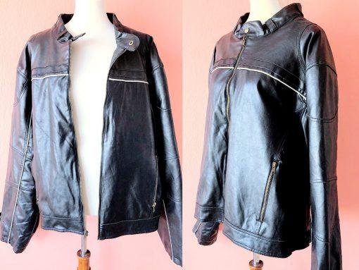 Vintage Men's Biker Jacket Pleather Faux Leather Bomber Vegan Black Rocker Arizona Jean Co./M L Xl