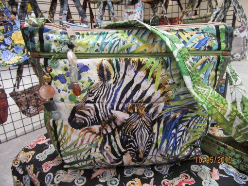 Zebra Cross Body Fabric Purse 100% Handmade
