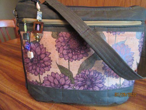 Purple Floral Cork & Fabric Shoulder Bag With Secured Zipper 100% Handmade