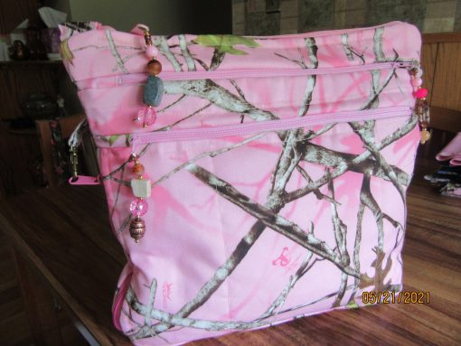 Pretty in Pink Camo Water Repellant Cross Body Purse With Secured Zipper 100% Handmade