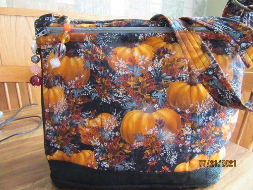Pretty Pumpkins On Black Cross Body Fabric Purse 100% Handmade