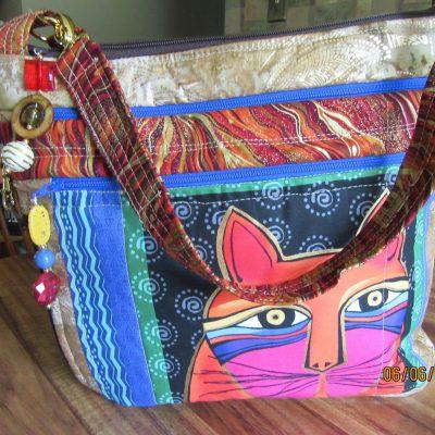 Laurel Burch Cat Cross Body Fabric Purse 100% Handmade