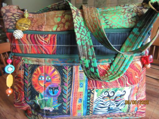 Laurel Burch Jungle Cross Body Fabric Purse With Secured Zipper 100% Handmade