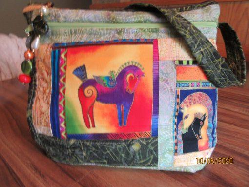 Laurel Burch Horses Cross Body Fabric Purse With Secured Zipper 100% Handmade