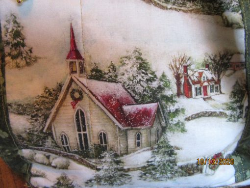 Winter in The Country Church Cross Body Fabric Purse With Secured Zipper 100% Handmade