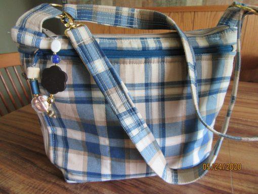 Blue Plaid Water Repellant Fabric Purse 100% Handmade