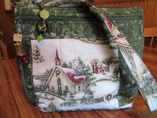 Winter in The Country Church Cross Body Fabric Purse 100% Handmade