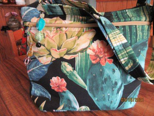 Wonderful Southwest Cactus Water Repellant Fabric Purse With Secured Zipper 100% Handmade
