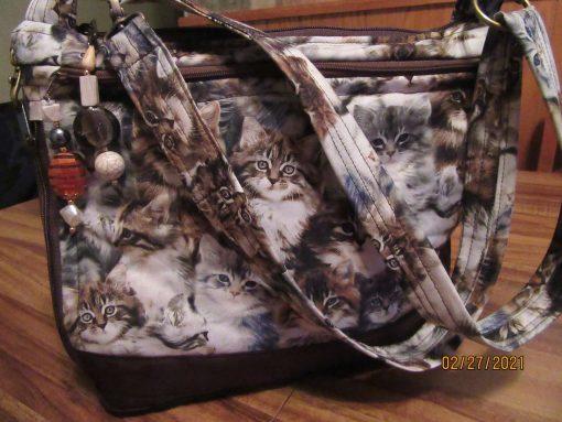 Wonderful Kittens Cross Body Fabric Purse 100% Handmade