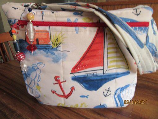 Wonderful Nautical Water Repellant Fabric Purse 100% Handmade