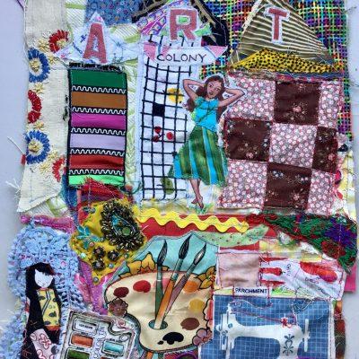 Art Colony ~ Mybonny Fabric Collage Patchwork Folk Art Original Primitive Random Scraps