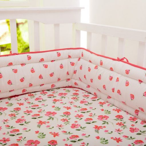 Organic Blossoms Full Crib Reversible Bumper   Baby Girl  Flowers Florals Tulips Pink Green Bedding