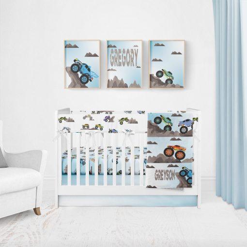 Monster Truck Crib Bedding, Nursery Bedding Set Boy, Baby Blanket, Bumpers, Personalized Blanket