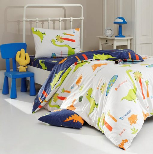 Organic Cotton, Eco Friendly Dyeing, Dinosaur Design Bedding Set/Boys Dino Duvet Cover Kid Quilt Set, Kids Comforter