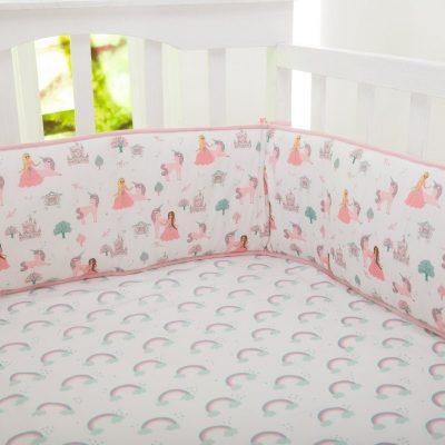 Organic Fairytale Full Crib Reversible Bumper | Baby Girl| Rainbows Princess Unicorn Pink Lavender Bedding