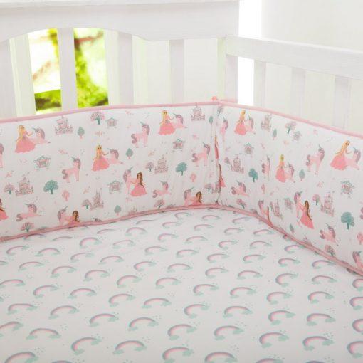 Organic Fairytale Full Crib Reversible Bumper   Baby Girl  Rainbows Princess Unicorn Pink Lavender Bedding