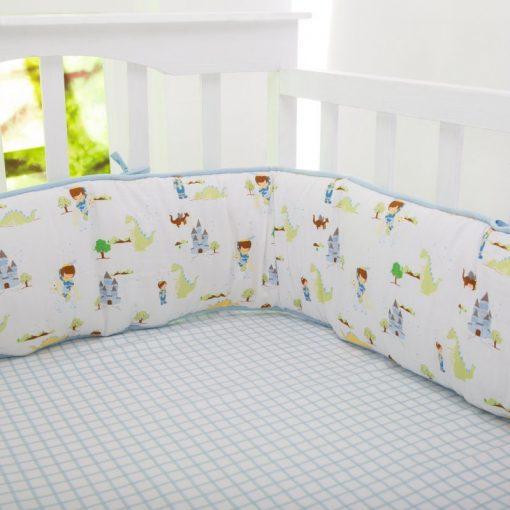 Organic Adventures Of A Prince Full Crib Reversible Bumper | Baby Boy| Newborn Dragons Knight Blue Green Bedding