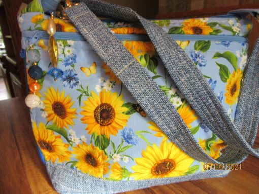 Sunflowers & Denim Cross Body Fabric Purse 100% Handmade