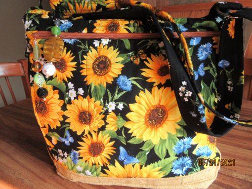 Sunflowers On Black Cross Body Fabric Purse 100% Handmade