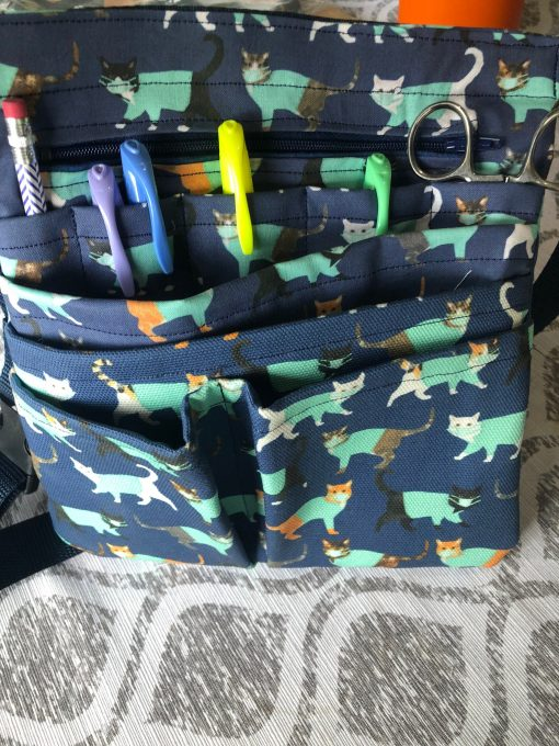 Deluxe Large Belted Nurse Vet Tech Scrub Pouch With Zippers, Tape Holder, Swivel Hook & Open Pockets in Cats Scrubs Fabric
