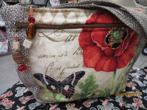 stunning Butterflies Cross Body Fabric Purse With Secured Zipper 100% Handmade