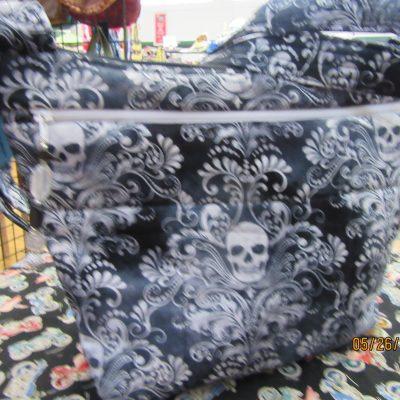 Skulls Fabric Cross Body Purse With Secured Zipper 100% Handmade